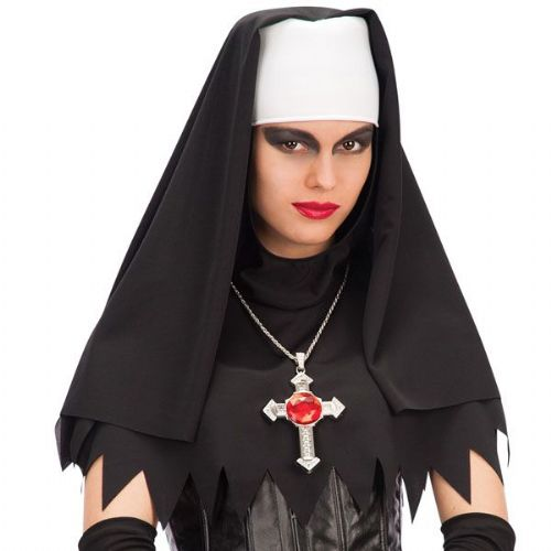 Nuns Head Piece Black & White Habit Fancy Dress Accessory